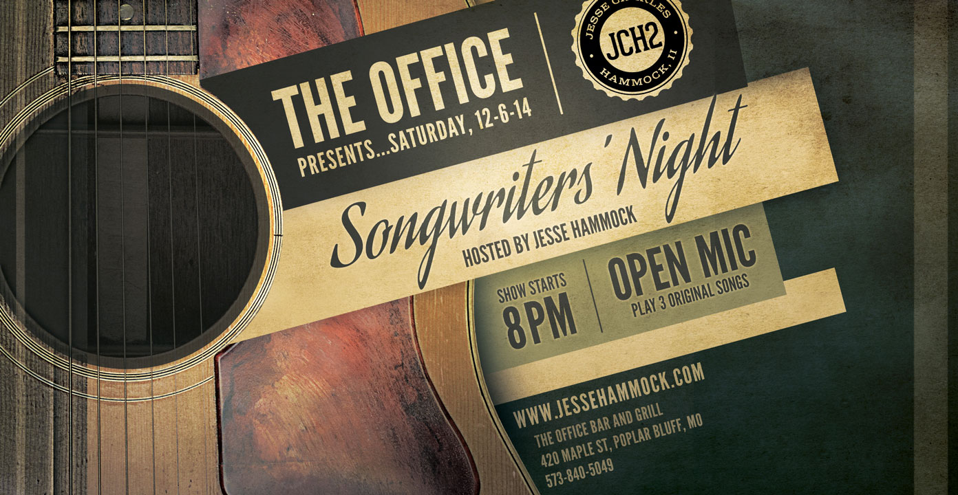 Songwriters' Night at The Office in Poplar Bluff hosted by Jesse Charles Hammock II on 12-6-14